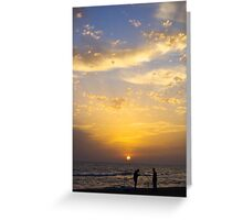 Sunset And Fishermen Greeting Card