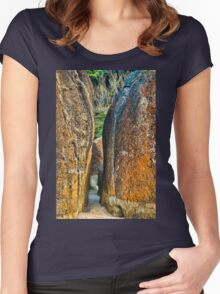 Sunrise Rocks at Squeaky Beach Women's Fitted Scoop T-Shirt