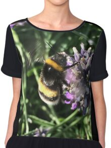 Bumble Bee on Lavender Chiffon Top