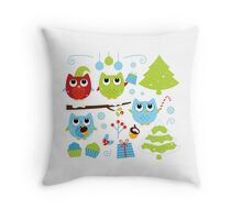 Cute Christmas owl party with christmas trees Throw Pillow