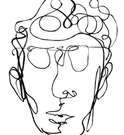 Continuous line drawing of a man Sticker