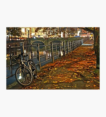 Autumn night in Berlin Watercolor Photographic Print