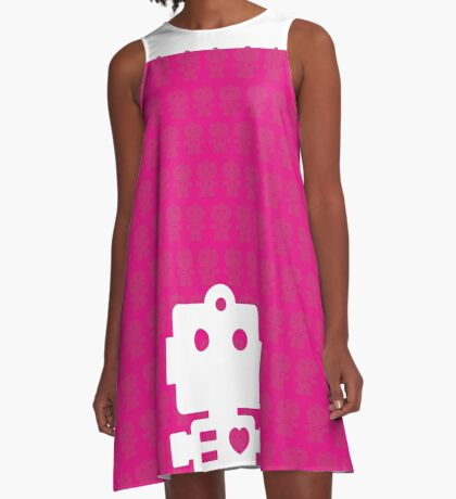 Robot - mageneta & white A-Line Dress