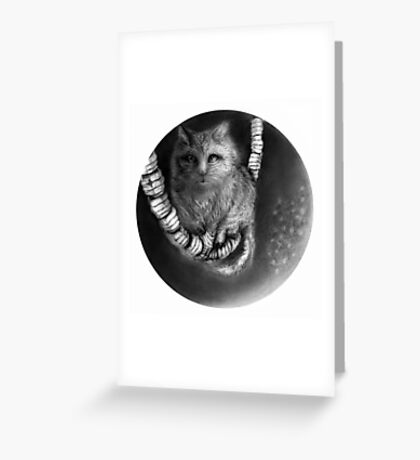 CIRCLE ART - CAT WALKS ON WIRE Greeting Card