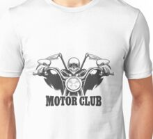 Motor Club Emblem Death on a motorcycle in  glasses  with scythes  Unisex T-Shirt