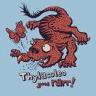 Thylacoleo goes rarr! - megafauna t-shirt by Richard Morden
