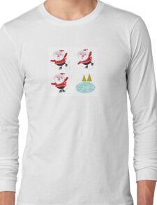 Cute retro Santa with christmas elements Long Sleeve T-Shirt
