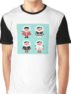 Happy eskimo children in vintage style. Cyan and red. Graphic T-Shirt