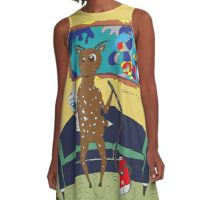 Diego the Deer Cleans Up A-Line Dress