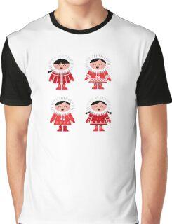 Cute eskimo children in red coat. Vector retro illustration Graphic T-Shirt