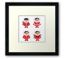 Cute eskimo children in red coat. Vector retro illustration Framed Print