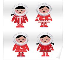 Cute eskimo children in red coat. Vector retro illustration Poster