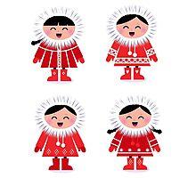 Cute eskimo children in red coat. Vector retro illustration Photographic Print