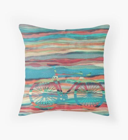 the super hipster fixie silhouette  Throw Pillow