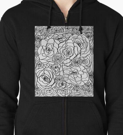 White Rose Bush Zipped Hoodie