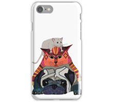mouse cat pug white iPhone Case/Skin