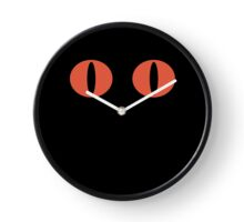 Red Minimalistic Cat Eyes Clock