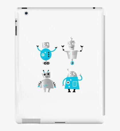 Cute cartoon robot characters : New! Blue robots edition iPad Case/Skin