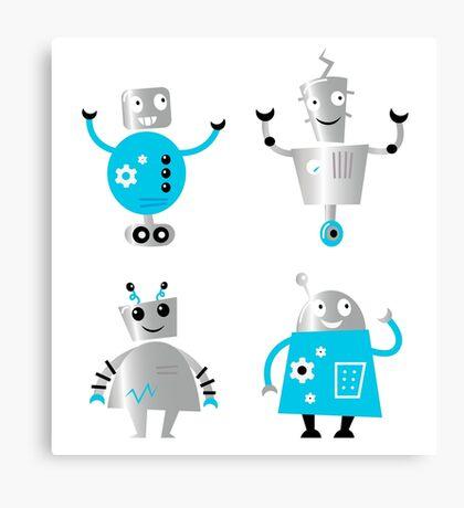 Cute cartoon robot characters : New! Blue robots edition Canvas Print