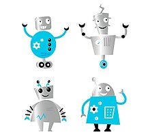 Cute cartoon robot characters : New! Blue robots edition Photographic Print