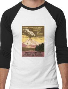Vintage Lassen National Park California Travel  Men's Baseball ¾ T-Shirt