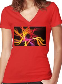 Warm Feather Spiral Women's Fitted V-Neck T-Shirt