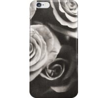 Medium format analog black and white photo of white rose flowers iPhone Case/Skin