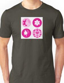 Pink femine symbols or badges. Original Illustration. Unisex T-Shirt