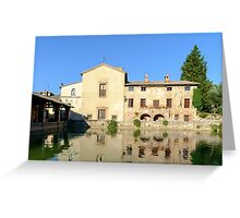 Hot springs, Bagno Vignoni, Val d'Orcia, Tuscany, Italy Greeting Card