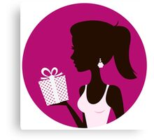 Female with gift silhouette. Retro vector Illustration Canvas Print