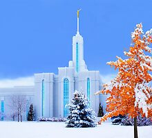 Mt. Timpanogos Temple Early Snow 20x30 by Ken Fortie