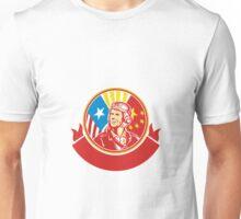 World War 2 Pilot USA China Flag Circle Retro Unisex T-Shirt