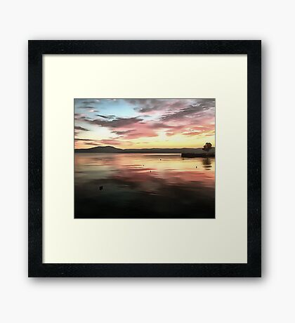 Sunset Reflected On Water Framed Print