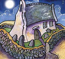 Perigree Moon. Mwnt Church by Dorian Davies