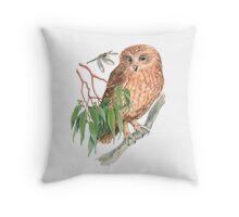 Boobook Owl & Dragonfly Throw Pillow