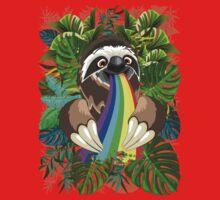 Sloth Spitting Rainbow Colors Kids Tee