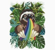 Sloth Spitting Rainbow Colors Kids Tee