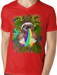 Sloth Spitting Rainbow Colors Mens V-Neck T-Shirt