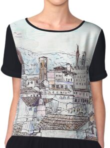 Florence At Dusk From Palazzo Magnani Feroni Women's Chiffon Top