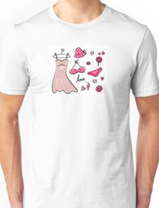 Vector doodle set of pink fashion accessories / old-fashion dots Unisex T-Shirt