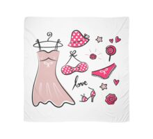 Vector doodle set of pink fashion accessories / old-fashion dots Scarf