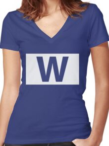 Chicago Cubs Majestic W Flag Women's Fitted V-Neck T-Shirt