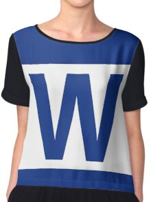 Chicago Cubs Majestic W Flag Chiffon Top