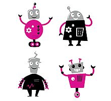 Cute cartoon robot characters : pink and black  Photographic Print