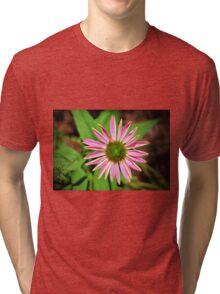 Pink And Green Zinnia Tri-blend T-Shirt