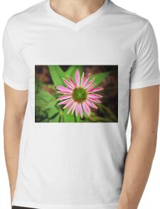 Pink And Green Zinnia Mens V-Neck T-Shirt