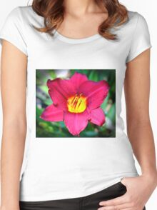 Vibrant Red Lily Women's Fitted Scoop T-Shirt