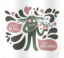 Spooky vampire monster with unicorn Poster