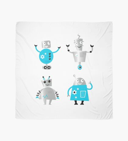 Cute cartoon robot characters. Old - vintage style robots Scarf