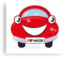 Car wash - happy red cartoon automobile Canvas Print